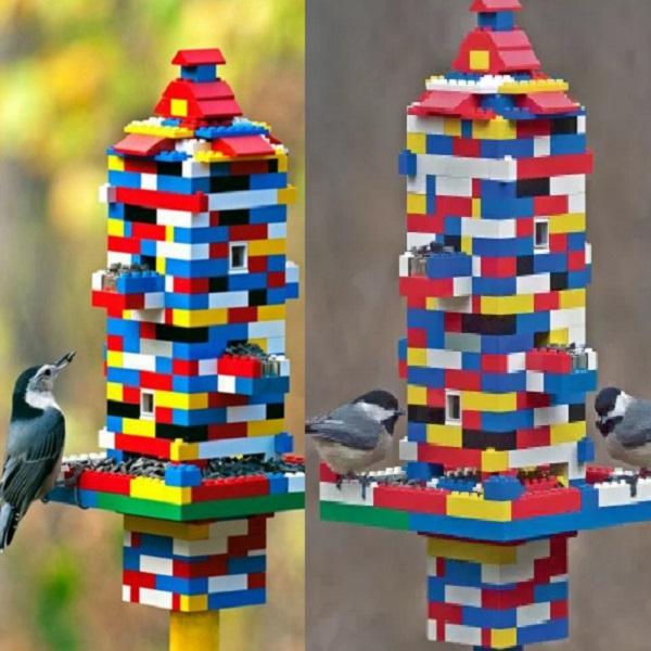 A Bird Feeder Made From a Lego