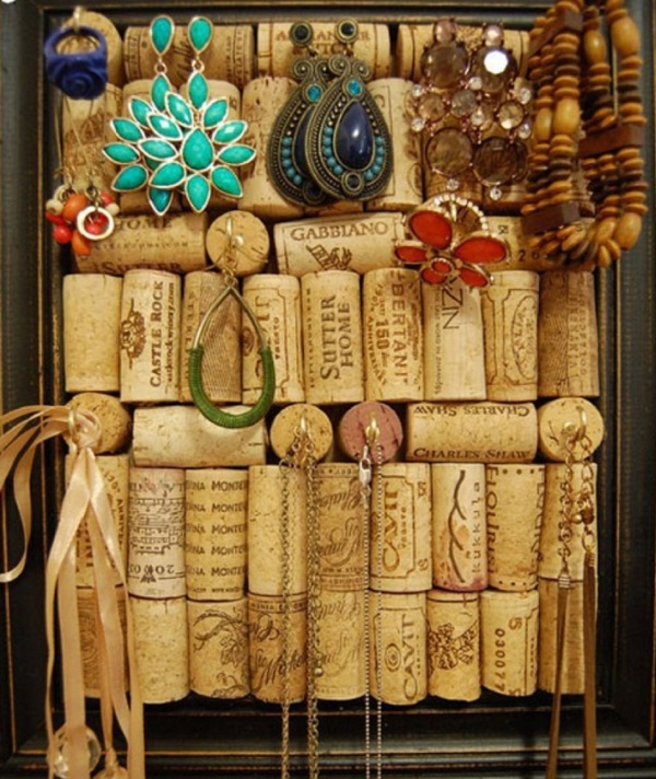 An Earring Holder Made From Corks
