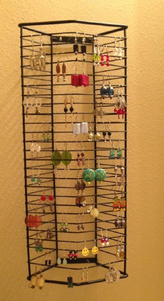 An Earring Holder Made From a CD Rack