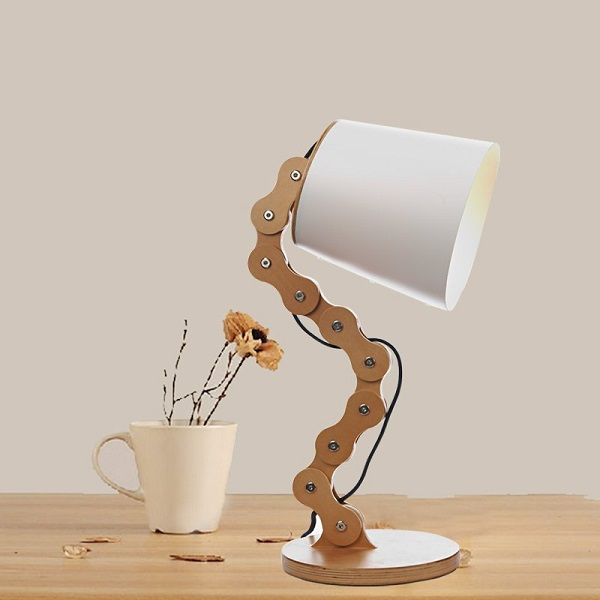 Wood Chain Bedside Posable Lamp