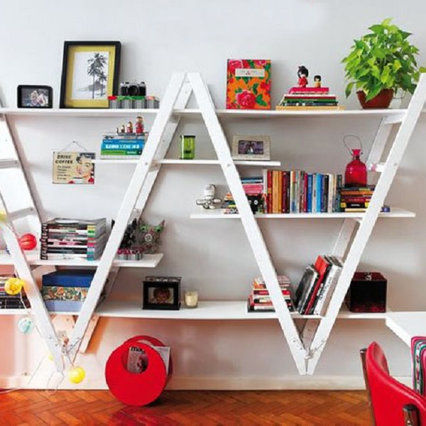 Metal Ladder Turned into Shelving