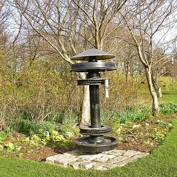 Train Wheel Turned into Garden Art