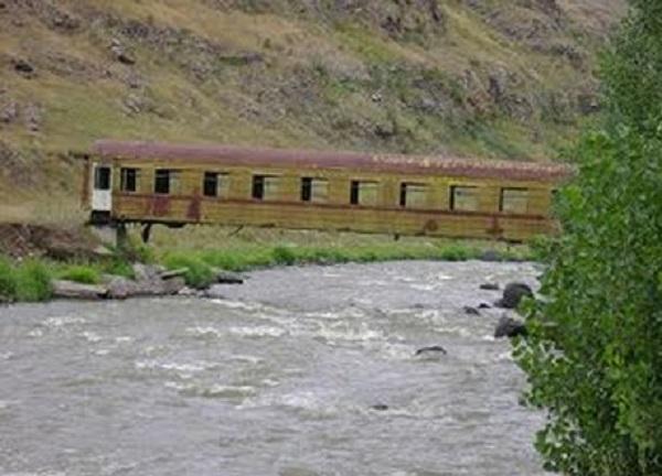 Old Train Carriage Turned into a Bridge