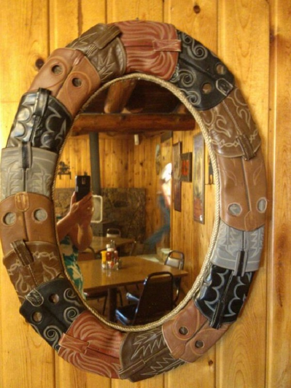 Mirror Frame Made With Old Shoes and Trainers