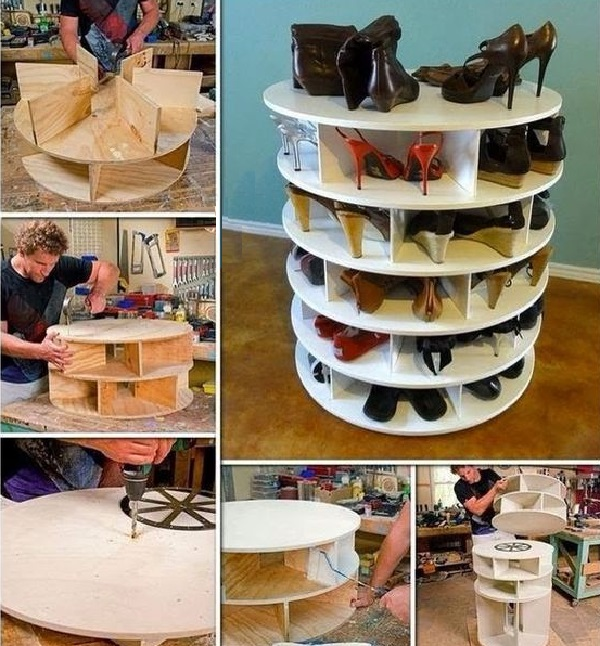 Wooden Cable Reel Turned into a Shoe Holder (Shoe Organiser)