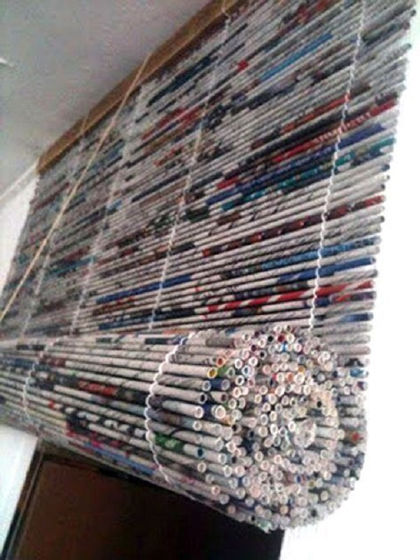 Roller Blind Made With Newspaper