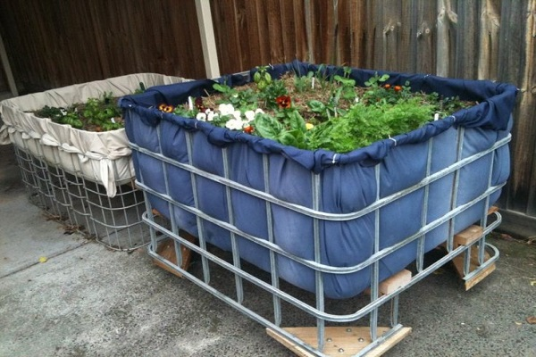 Large Garden Planter Made From a Liquid Cage