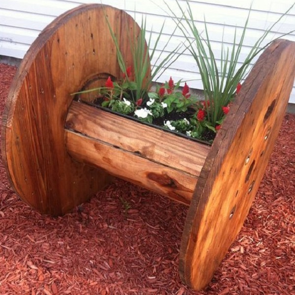Large Garden Planter Made From a Large Cable Reel