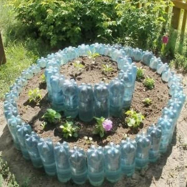 Large Garden Planter Made From Plastic Bottles