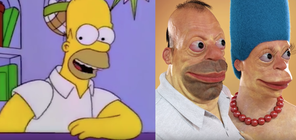 The Man Who Makes Creepy, Realistic Versions Of Famous Cartoon Characters image of homer