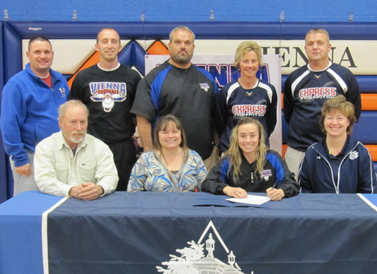 Seated, left to right, Ty Ross, Sherri Ross, Cady Ross, Wendy Spratt (Columbia College head softball coach). Standing, left to right, David Hill (VHS athletic director), Jamie Kerley (VHS assistant softball coach), Marc Palmer (VHS head softball coach), Kim Wheeler and Matt Wynn (Southern Express softball coaches).