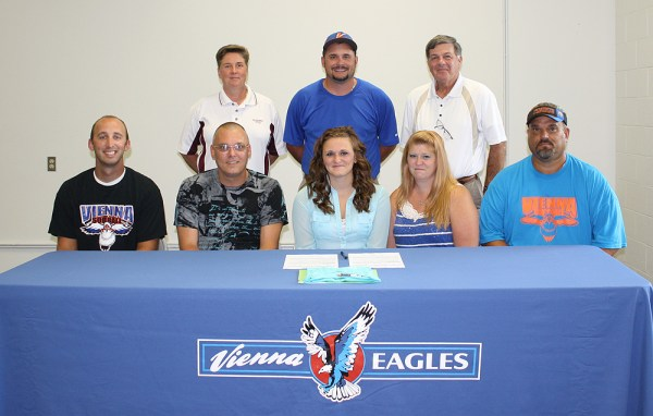 Pictured, front row from left, during the signing ceremony at VHS is VHS assistant coach Jamie Kerley, her father Pat McKibben, Sami, her mother Angie and VHS head coach Marc Palmer. In the back row is SCC assistant coach Lou Basler, VHS athletic director David Hill and Fitzgerald.