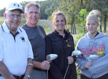 Four generations of the Jerome Watkins' family golfed together Saturday in Vienna during the Goreville Blackcats 4-person scramble at the Gambit. The Watkins team included Jerome Watkins, his son Terry Watkins, granddaughter Shanna Massey and great granddaughter Alexis Massey. Photo by Neal Watkins