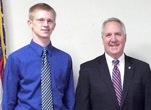 Congressman John Shimkus recently hosted a reception for his nominees to the military academies. Shown with him from the area are, left to right: Robert Lowery of Boles, Shimkus, Paul Coen of Golconda and Reed Scheve of Metropolis.
