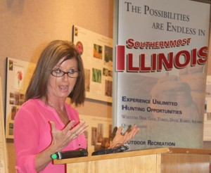 Southernmost Illinois Tourism director Cindy Cain is passionate in promoting Southernmost Illinois. She and other state-wide tourism leaders gathered at the Cache River Wetland Center, south of Cypress Tuesday morning, July 29, to promote the area.