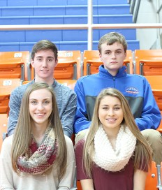 Freshman attendants, front row: Jaiden Sanders, daughter of Gayla and Tony Sanders; Haleigh Keeling, daughter of Cessinee and Jack Thornton and the late Robert Keeling Jr. Back row: Brendan Vaughn, son of Deborah and Chad Vaughn; Zane Hutchison, son of Donald and Carrie Hutchison.