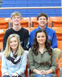 Sophomore attendants, front row: Faith Guest, daughter of Rebbeca and Jonathan Guest; KJ Coonce, daughter of Terry, Missy and Stacey Coonce. Back row: Dilynn Roper, son of Erik Roper, Anna Fletcher and Maria Roper. Nolan Dahncke, son of Tiffany and Marc Dahncke.