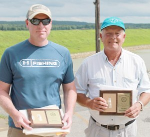 First place winners of the 2016 Rodney J. Brenner Memorial Bass Tournament are (l-r) Steve Sanders and Greg Gorden of Vienna. Sanders and Gorden won the team competition and a check for $2,318 by catching five fish totaling 17.67 pounds. The duo also won the Big Bass competition by landing a 5.17 pound large-mouth, garnering them an additional $552.