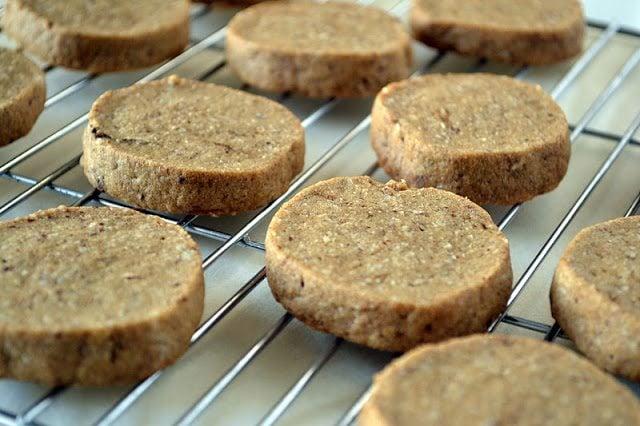 baked Espresso Hazelnut Shortbread Cookies