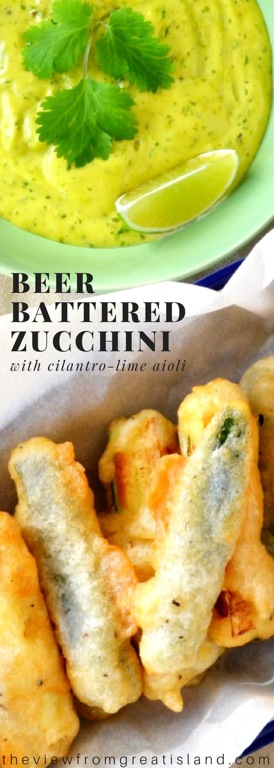 Beer Battered Zucchini with Lime Cilantro Aioli ~ what's not to love about this crispy fried zucchini and zesty dip? This is going to the favorite appetizer at your next party, guaranteed! #beerbatter #zucchini #friedzucchini #appetizer #aioli #appetizerrecipe #
