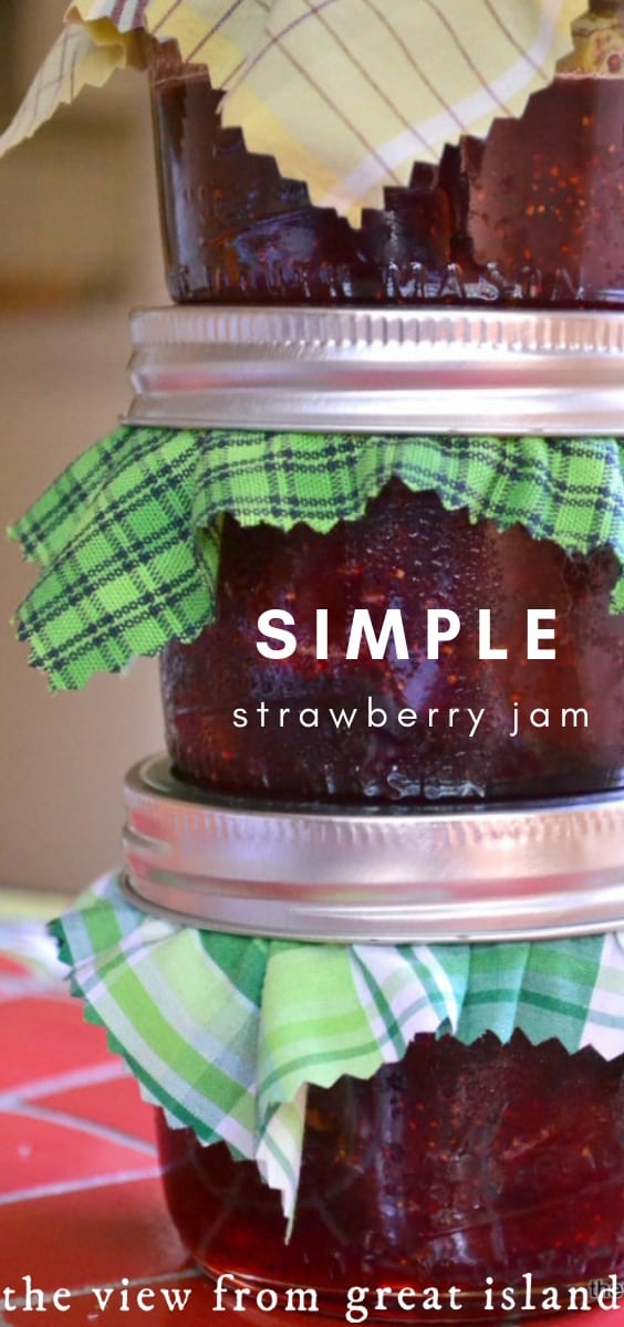 Simple Strawberry Jam, European style ~ this easy small batch strawberry jam is made the traditional way they've been making jam in Europe for centuries. #jam #easy #recipe #fruit #canning #preserves #strawberry #smallbatch #refrigerator #freezer