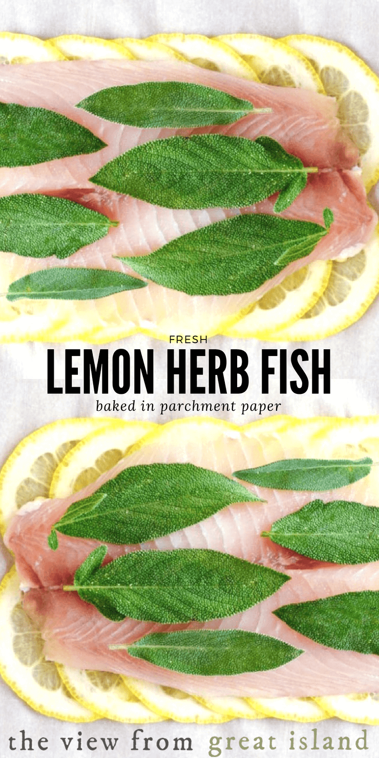 Lemon Herb Fish in parchment paper is an incredibly healthy recipe that is also stunningly beautiful.   Prep it ahead of time and you'll have an easy weeknight meal, or a company-worthy dish. #fish #parchment #glutenfree #paleo #whole30 #lowcarb #meatless #seafood #papillote #fatfree #healthy #weightwatchers #dinner #maincourse #30minutemeal #bakedfish