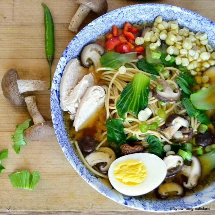 miso ramen with shitake mushrooms and chicken