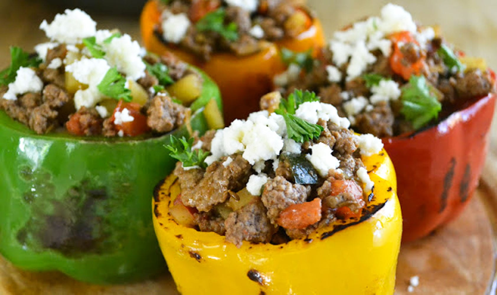 Stuffed Bell Peppers with Picadillo
