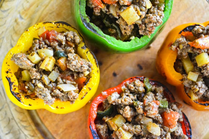 Bell peppers stuffed with ground beef and spices
