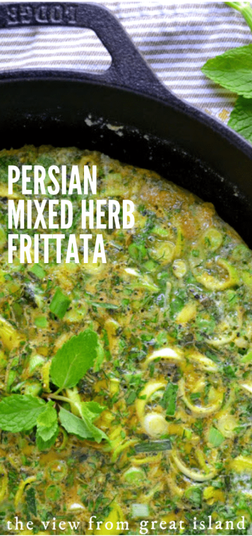 Persian Mixed Herb Frittata (Kuku Sabzi) is a traditional Middle Eastern egg dish that is literally loaded with fresh herbs! #breakfast #omelette, #frittata #fritatta #eggs #breakfast #herbs #brunch #healthy #authentic #middleeastern #easy #herbs #vegetarian #glutenfree
