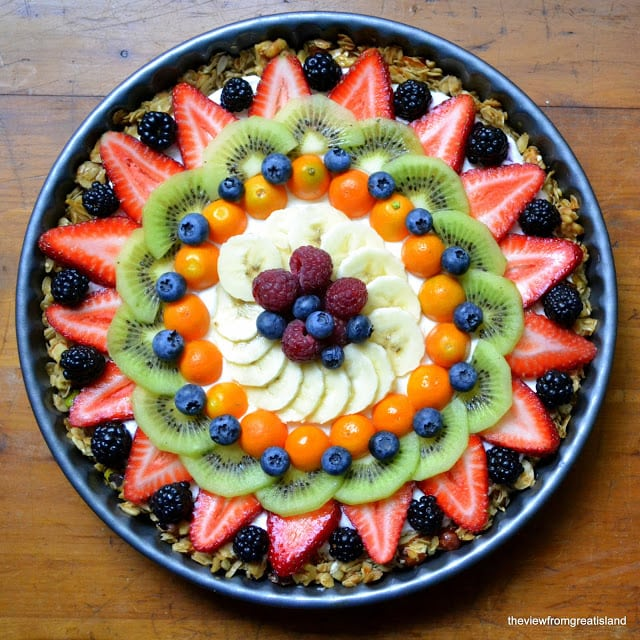 Beautiful fruit and yogurt breakfast tart in a round pan