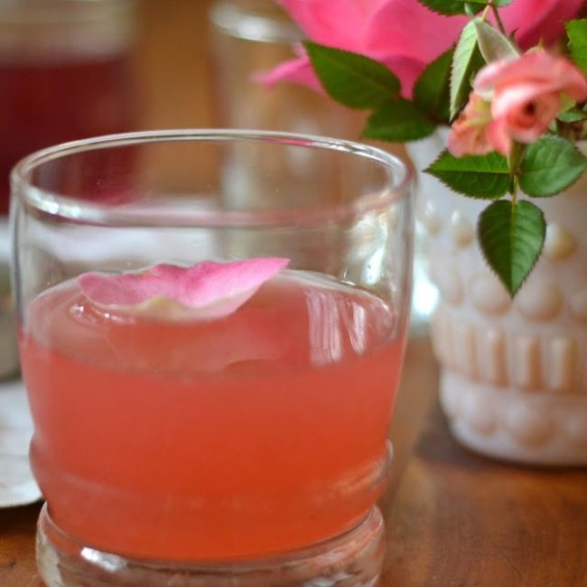 Cardamom Rose Cocktail with a rose petal