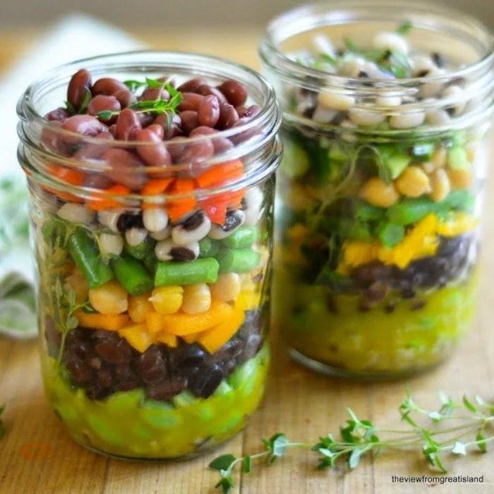 Photo of two jars of Mason Jar 7 Bean Salad .