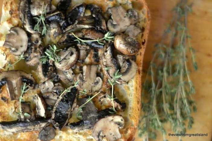 Mushroom and Gruyere Bruschetta with fresh thyme