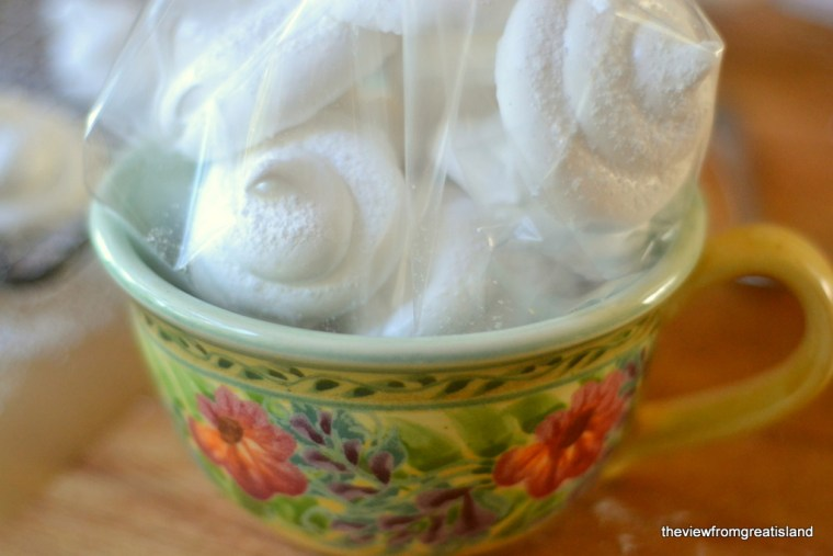 Homemade Marshmallow Dollops bagged in mug