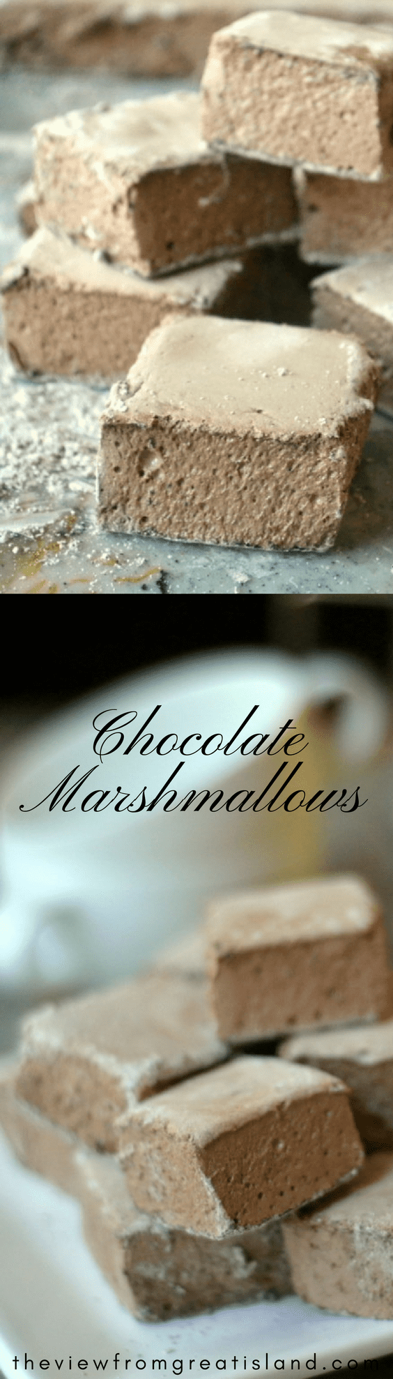 These fun homemade Chocolate Marshmallows will transform plain hot milk into a decadent treat ~ they're super easy to make and impossible to resist! #marshmallows #candy #chocolate #homemademarshmallows #hotcocoa #hotchocolate #homemadecandy #easymarshmallows