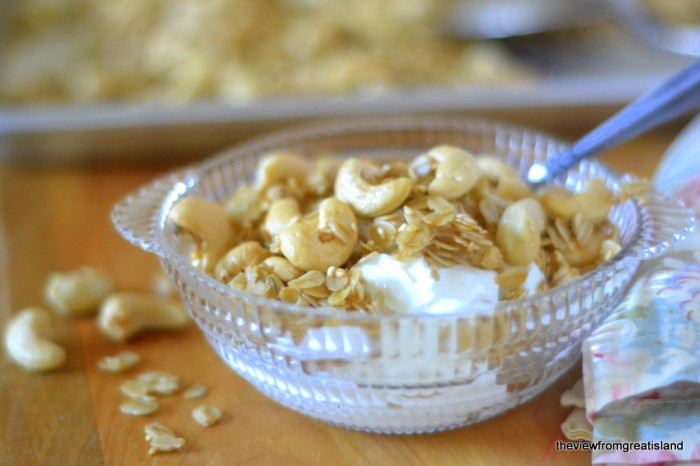 warm cashew granola without berries
