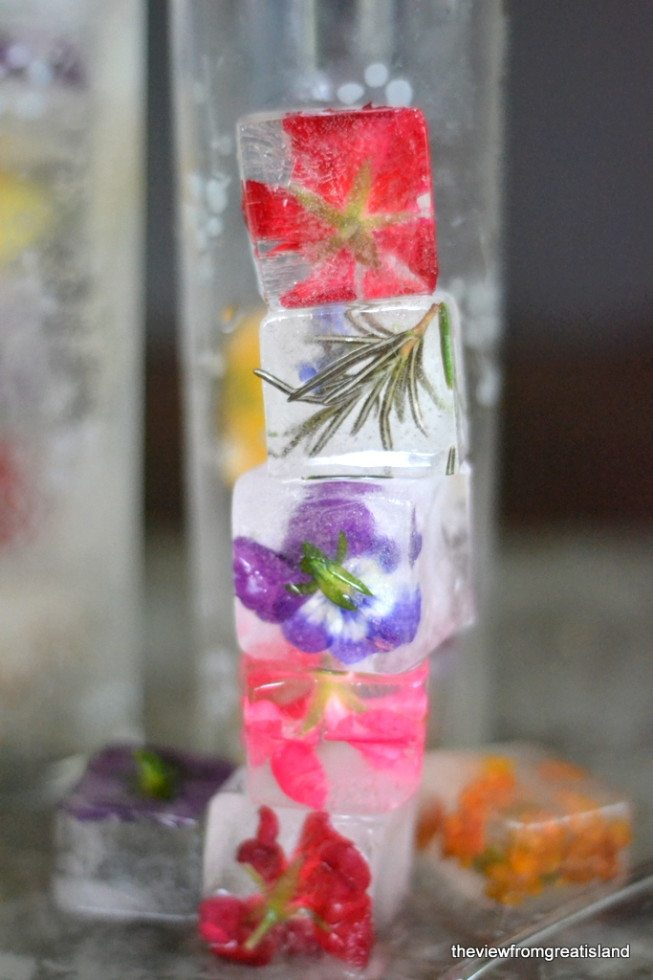 Photo of a stack of Edible Flower Ice Cubes.