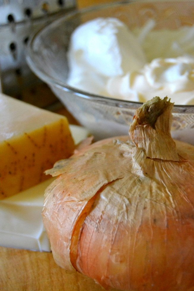 Photo of a vidalia onion, with cheese and other ingredients for sweet vidalia onion dip in the background.