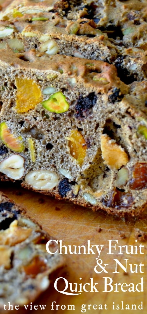 Chunky Fruit and Nut Quick Bread is packed full of healthy fruits and nuts ~ the smell of a couple of slices of this bread in the toaster will get anyone out of bed in a hurry! #bread @quick #easy #loaf #driedfruit #nuts #recipe #healthy #breakfast #snack #healthysnack #baking #bread