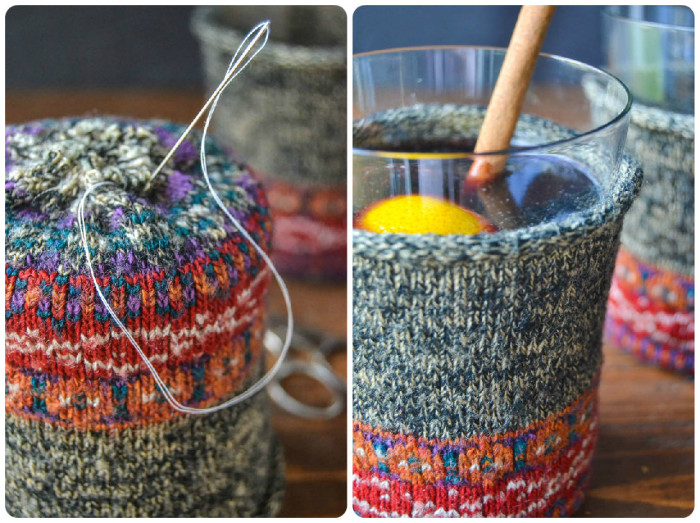 Make your own mulled wine cozy out of old socks!