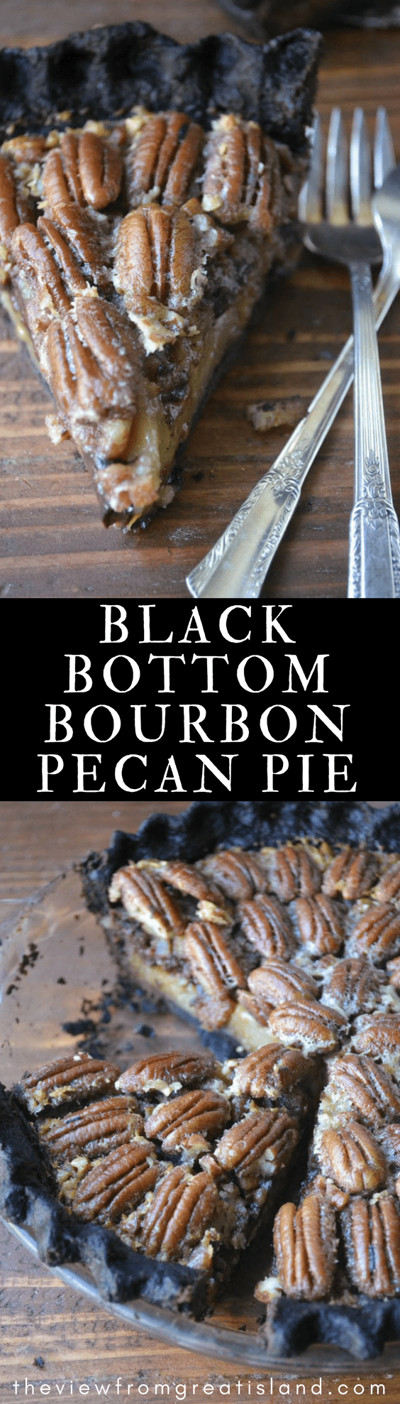 Black Bottom Bourbon Pecan Pie ~ bring a little drama to the table with this chocolate crusted (and spiked) pecan pie ~ it's guaranteed to turn heads! #dessert #pie #pecanpie #chocolatepiecrust #blackbottom #chocolatepecanpie #bestpecanpie #gorgeous #Thanksgiving #Thanksgivingdessert #Christmas #fall #pecans