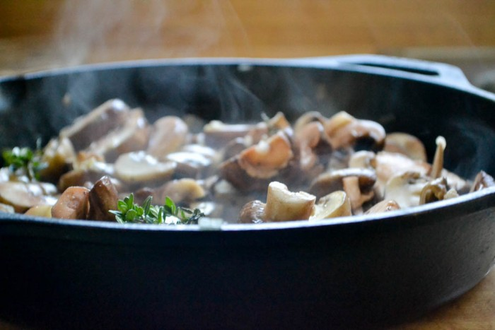 mushroom sauteeing for Chicken Thighs Marsala