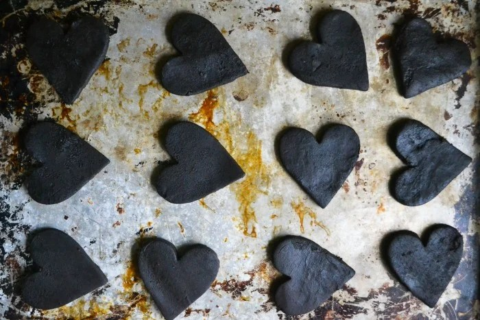 deep chocoate cut out heart cookies
