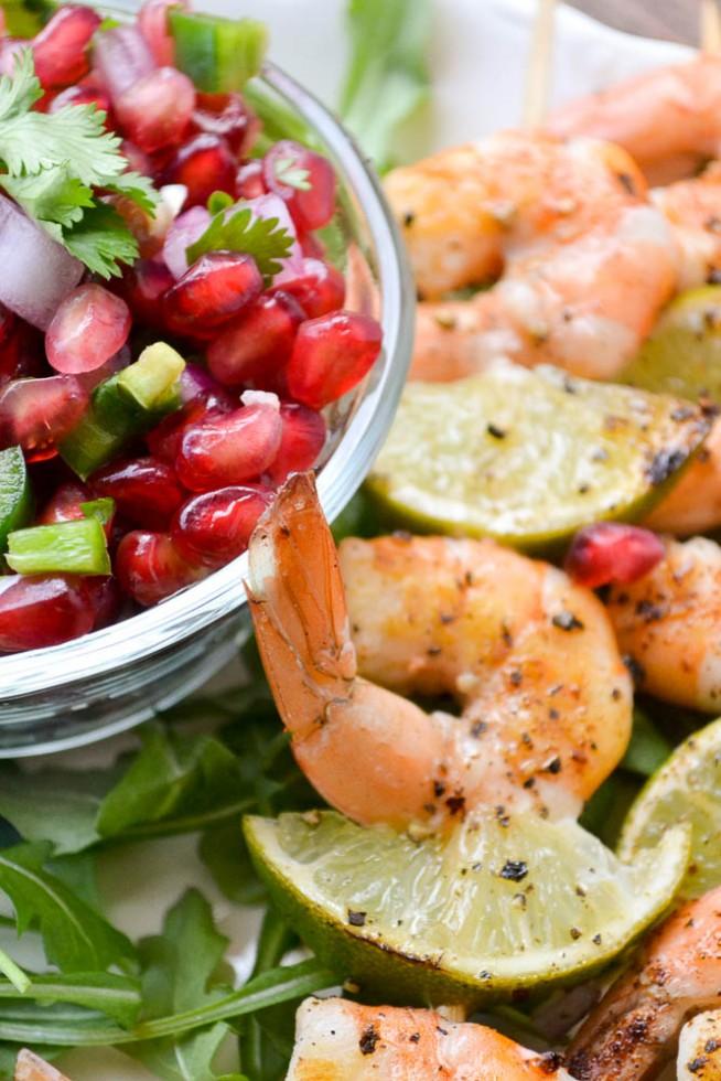 grilled shrimp with pomegranate jalapeno salsa