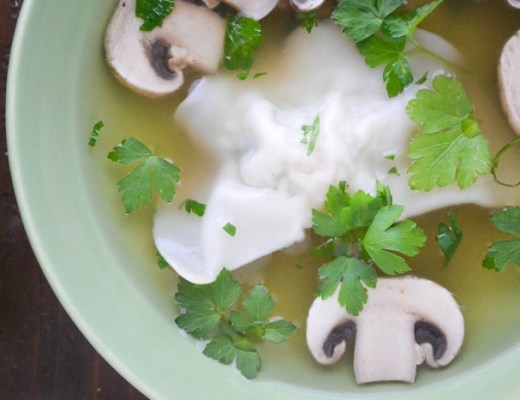 miso broth with shrimp dumplings 2