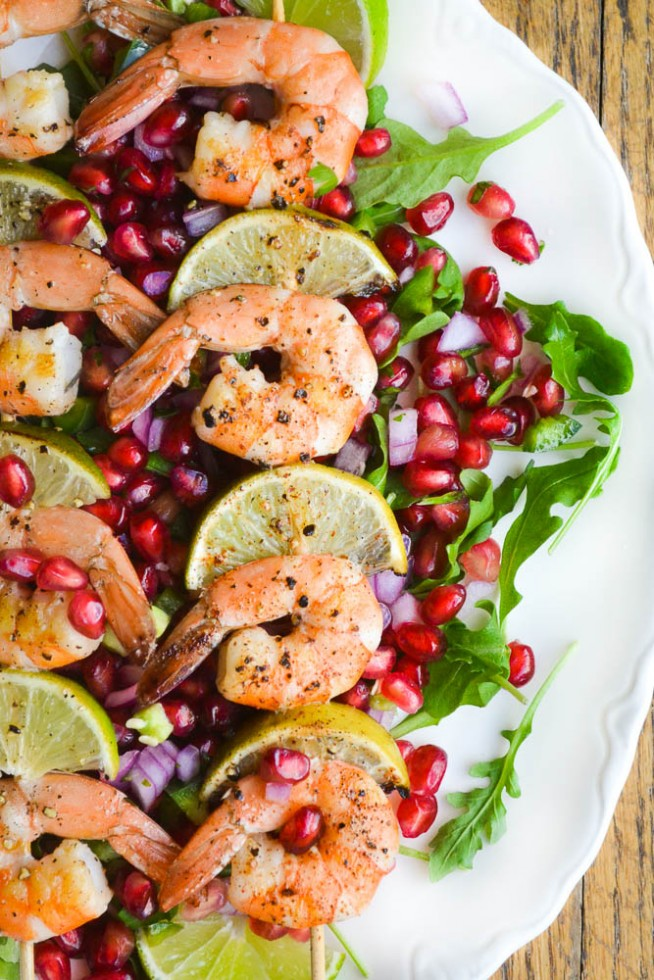 Grilled Shrimp with Pomegranate Salsa is practically calorie free!