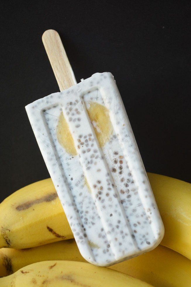 Photo of a Chia coconut pudding popsicle with bananas.