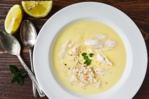 sunny lemon soup with chicken and couscous