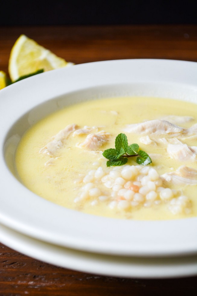 Lemon soup with chicken and couscous